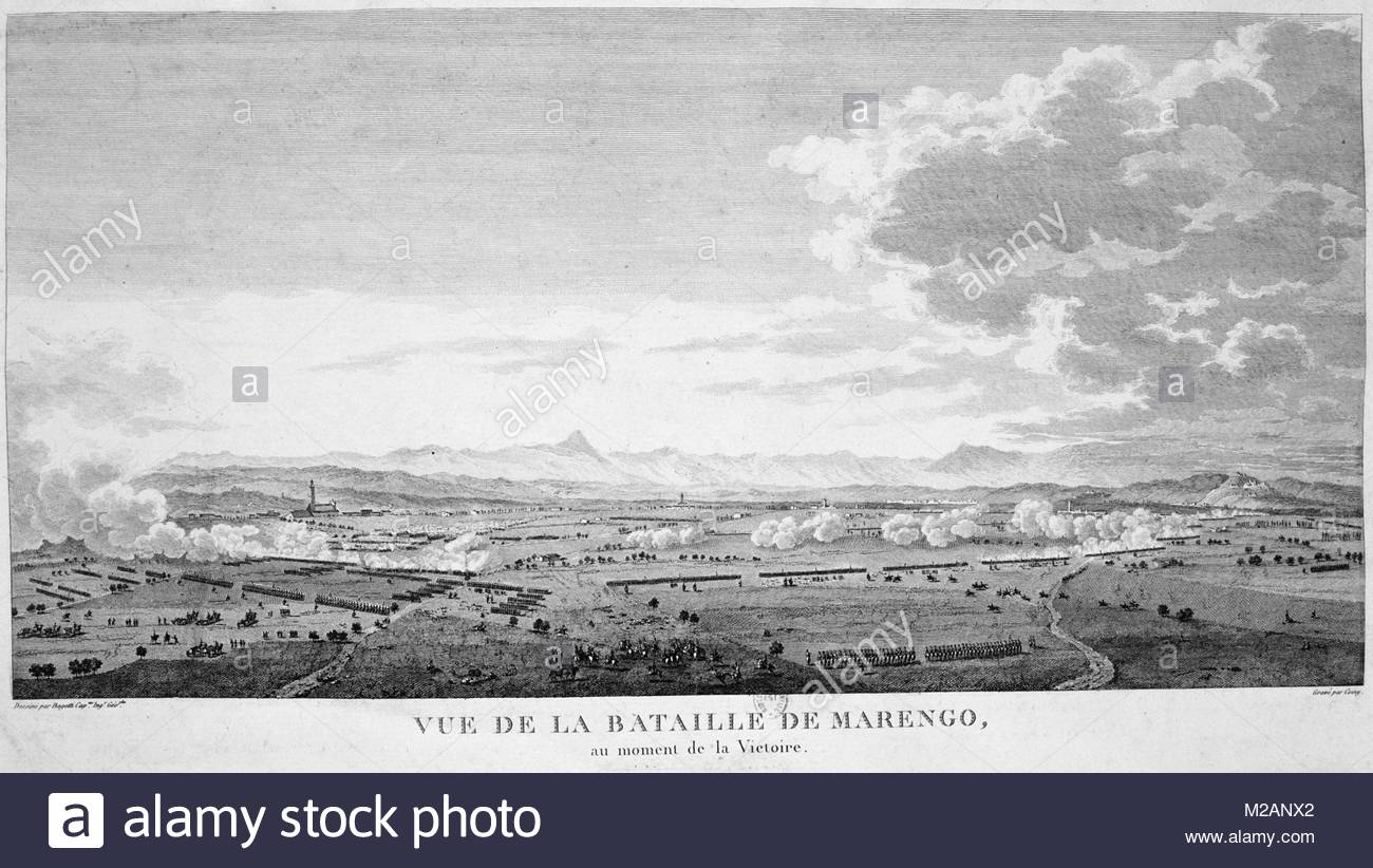Field of the Battle of Marengo, 14 June 1800 at the moment of victory - Stock Image