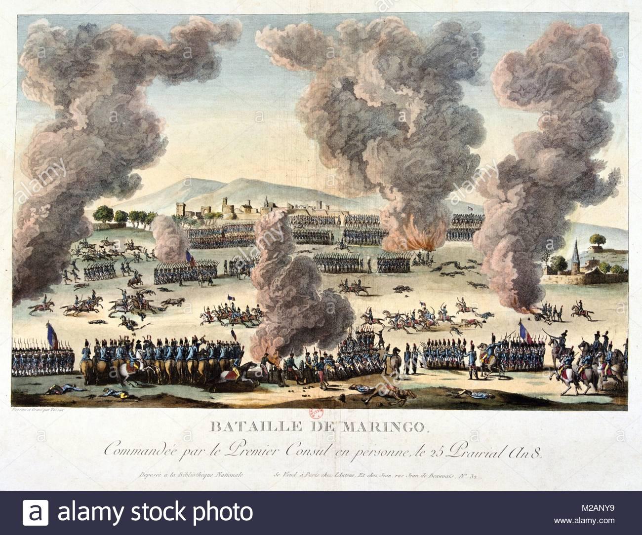 The Battle of Marengo, 14 June 1800 - Stock Image