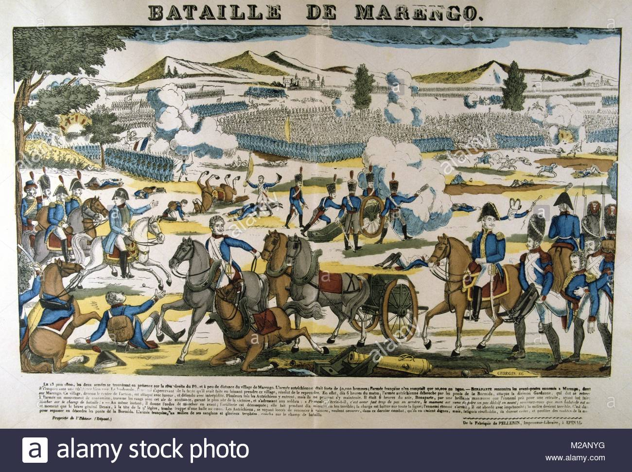Bonparte, centre left, at the Battle of Marengo, 14 June 1800 - Stock Image