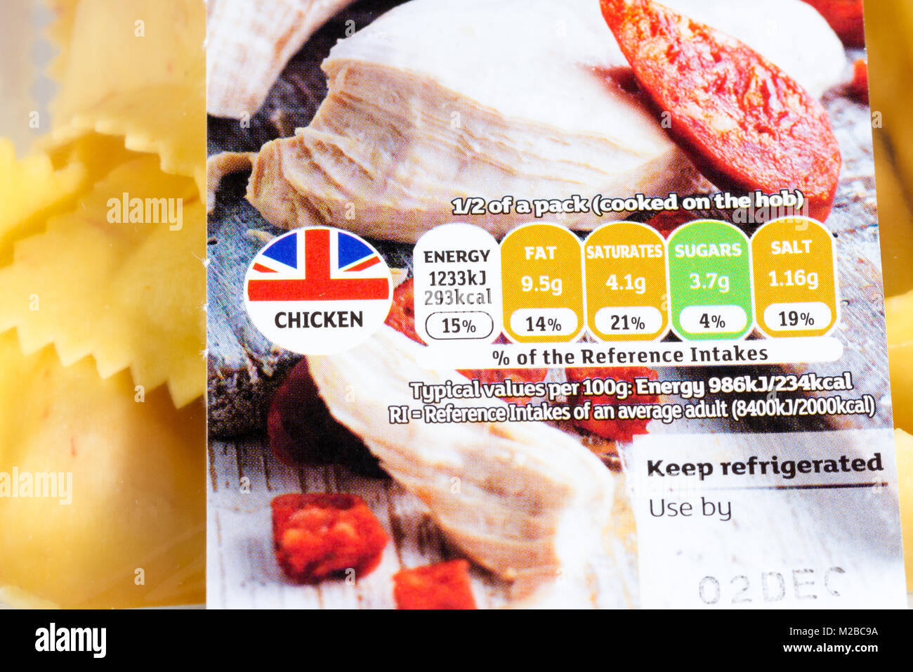 Chicken pasta food label close up showing traffic light rating system & use by date, United Kingdom - Stock Image