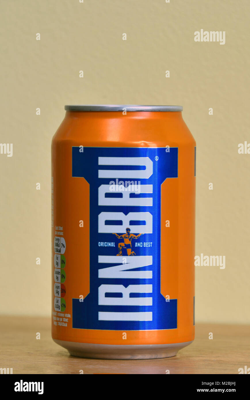 Can of Irn-Bru. Original and best. Scottish carbonated soft drink. Stock Photo