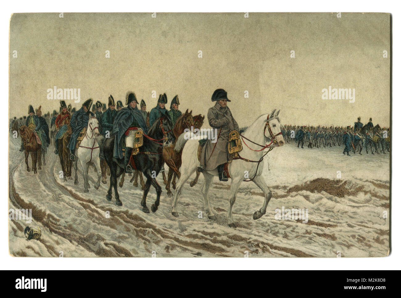Old postcard: painting 1864 'Campaign in France 1814' French artist Ernest Meissonier, Napoleon and his - Stock Image