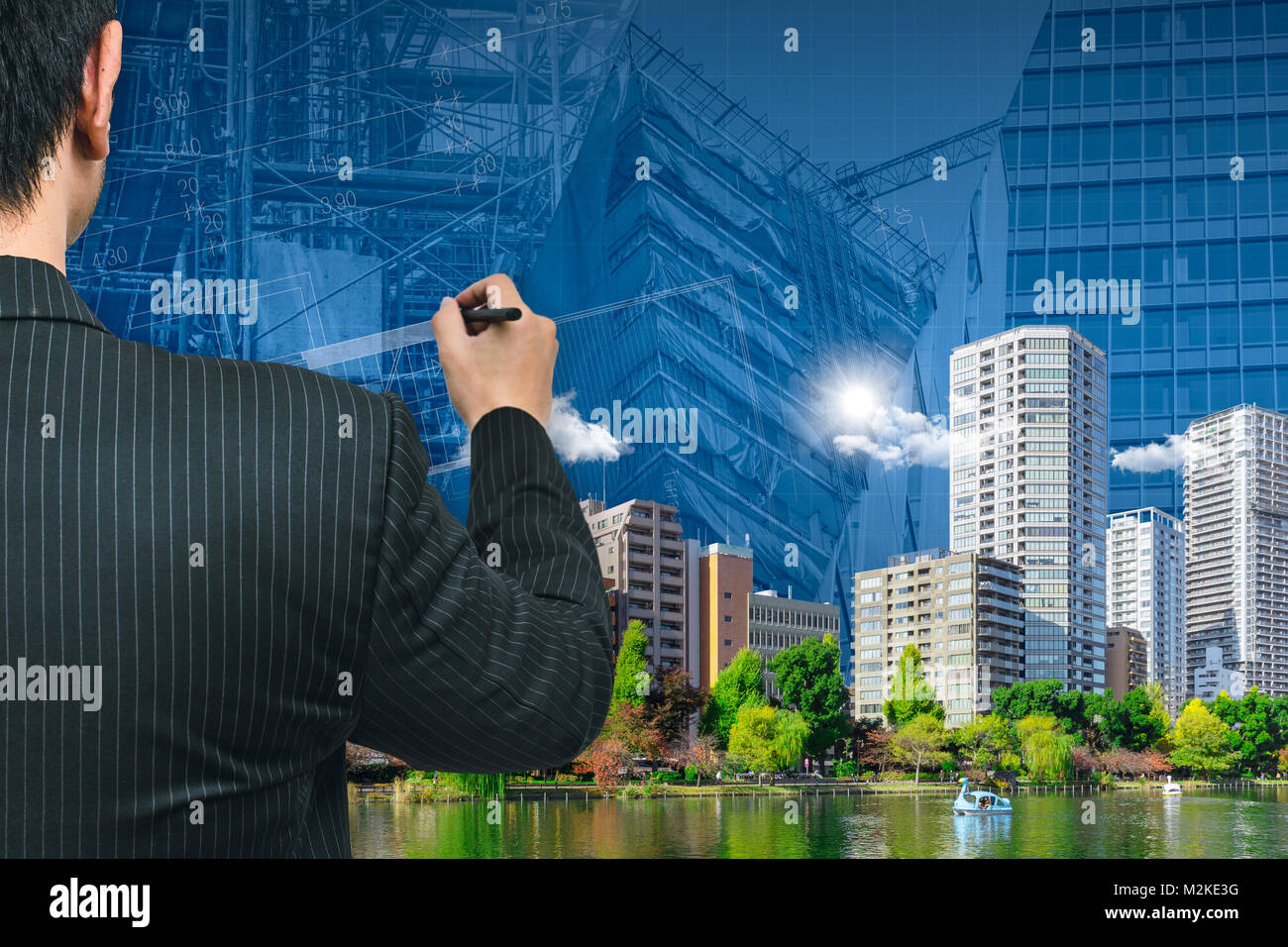 Business man or Architecture Drawing The Green City Good Environment  building of modern metro concept. - Stock Image