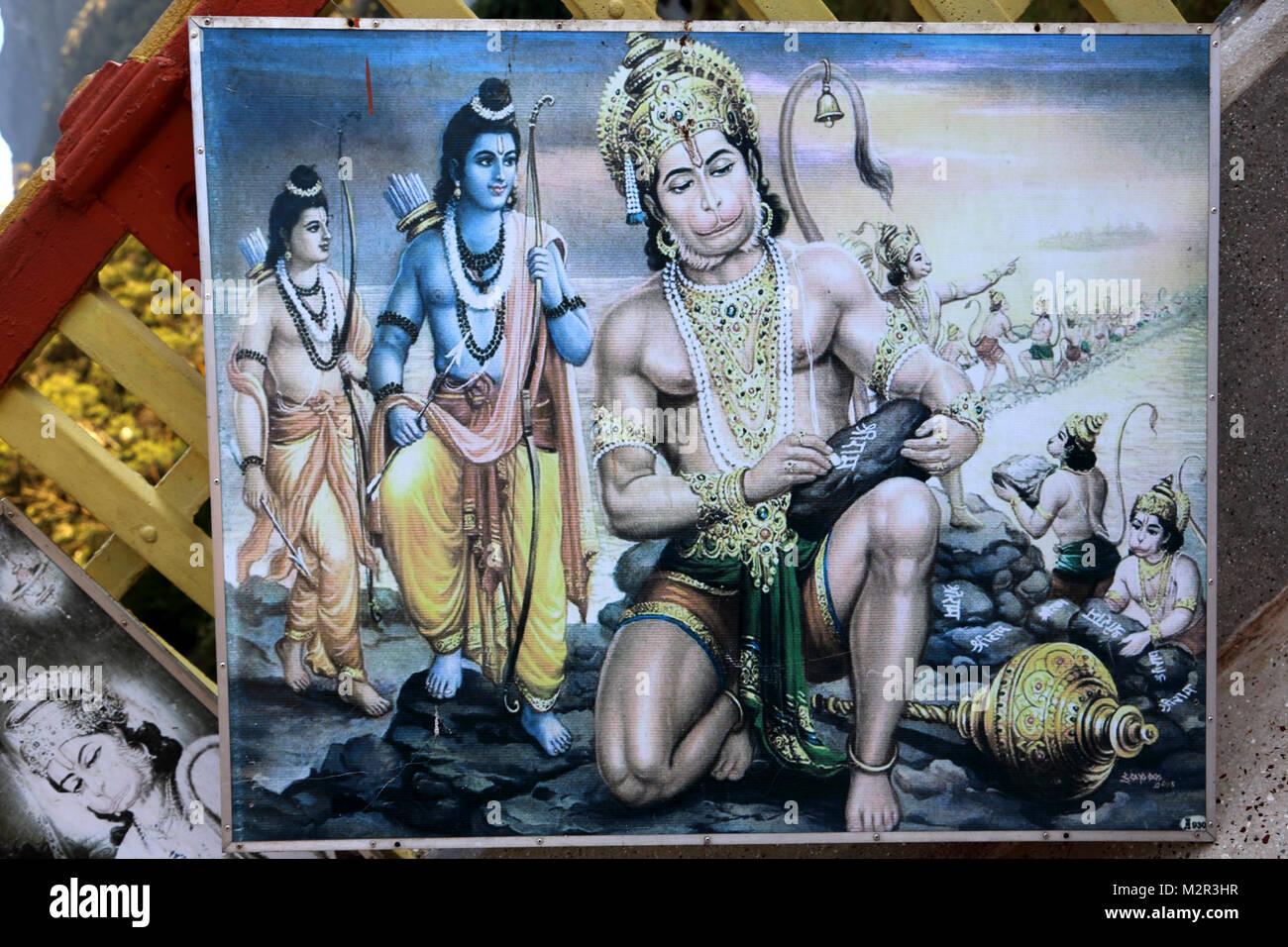 Sita Amman Temple Seetha Eliya Central Province Sri Lanka Said to be the spot where Ravana Held Sita Captive In - Stock Image