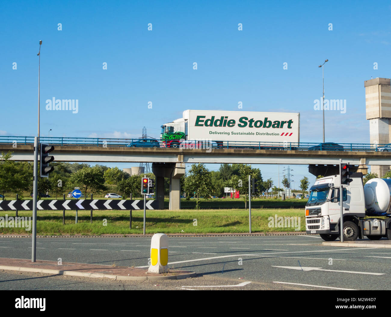 Eddie Stobart lorry on Tees flyover between Stockton and Middlesbrough. UK - Stock Image
