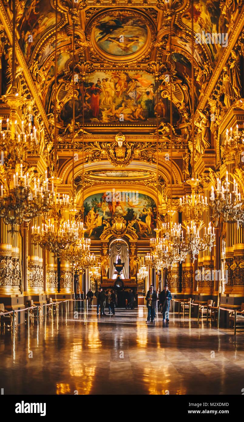Paris, France - NOV 30, 2013: Interior of the Palais Garnier (Opera Garnier). Interior view of the Opera National.It - Stock Image