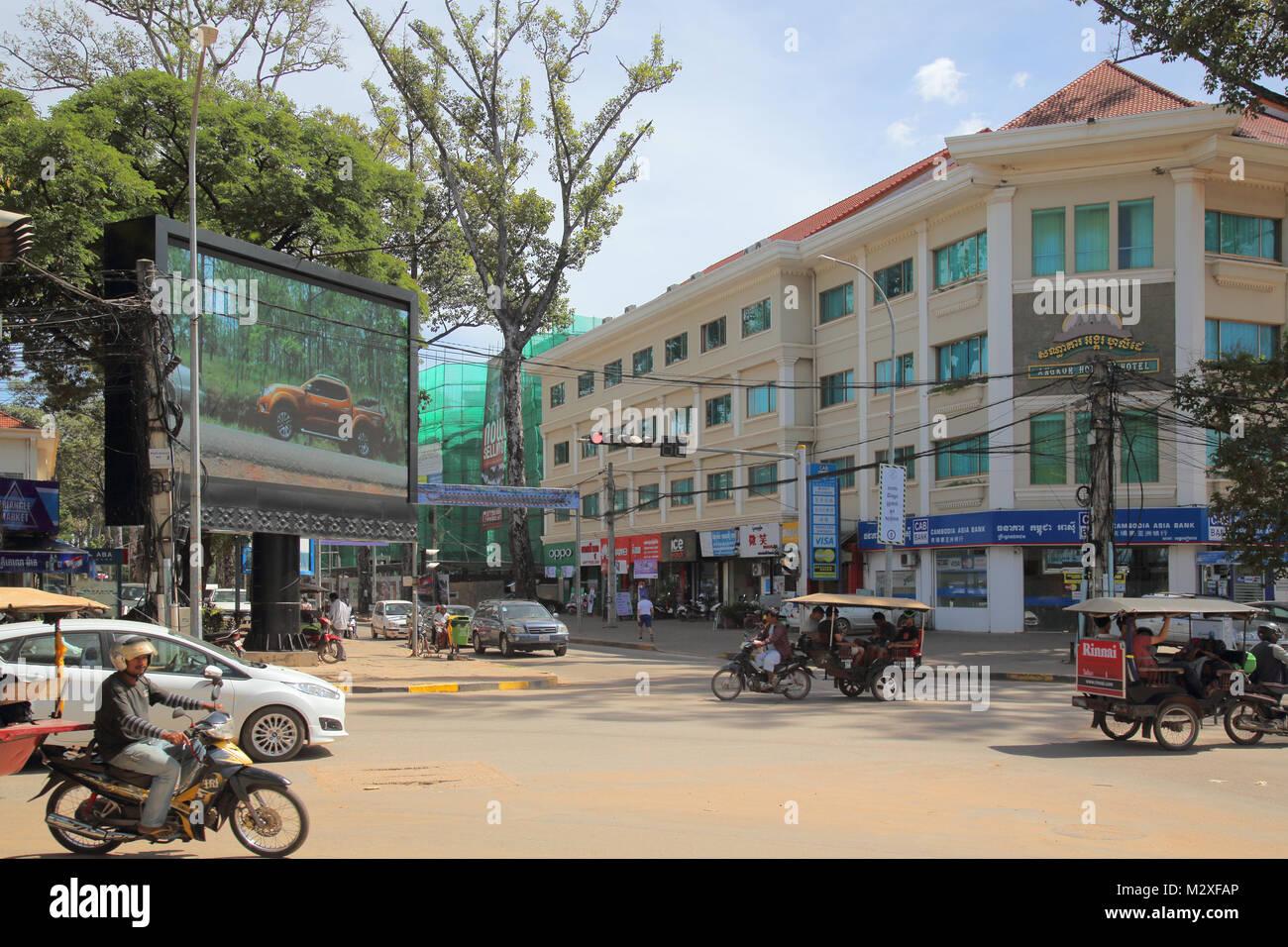 downtown siem reap cambodia Stock Photo