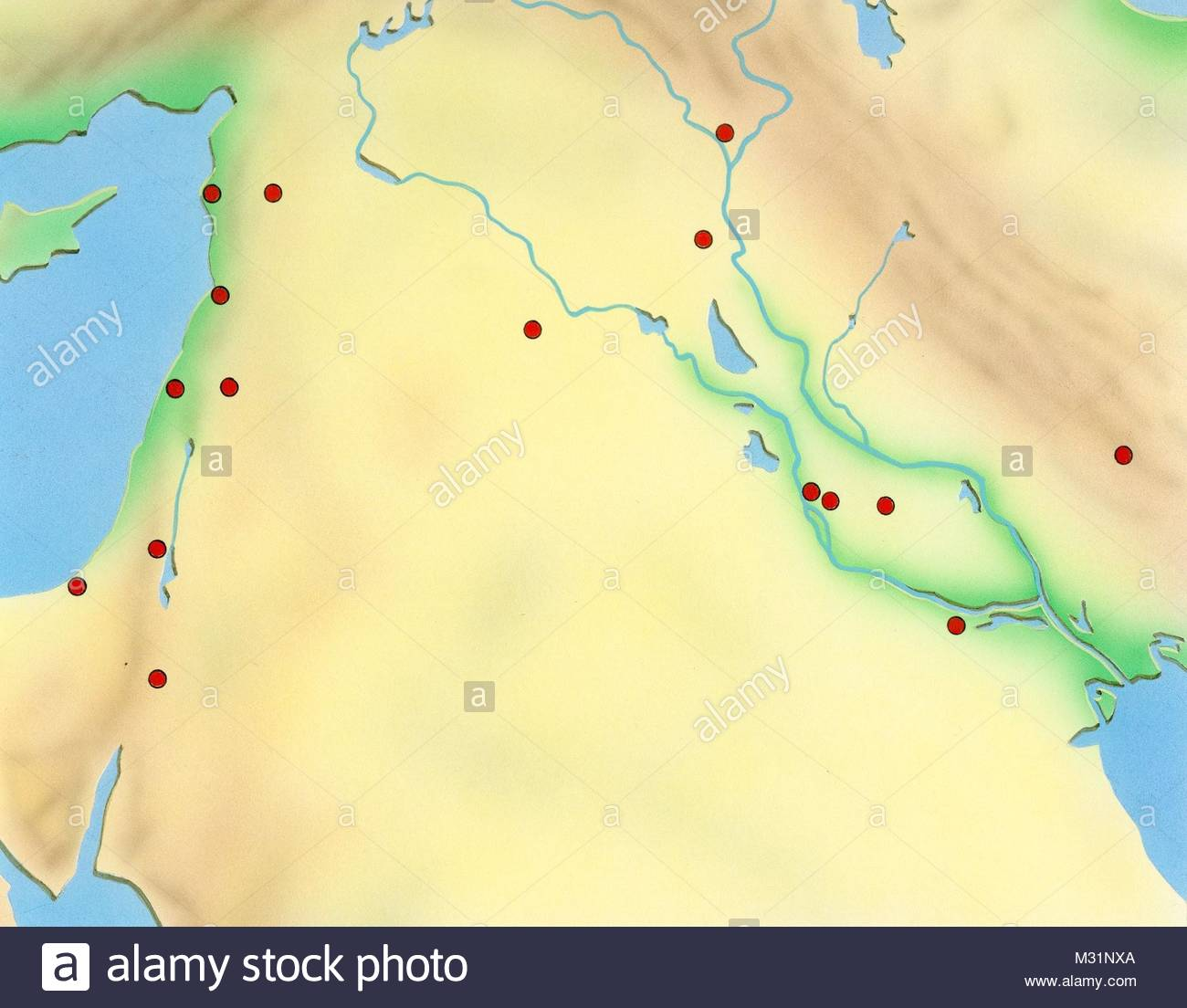Map Middle East - Stock Image