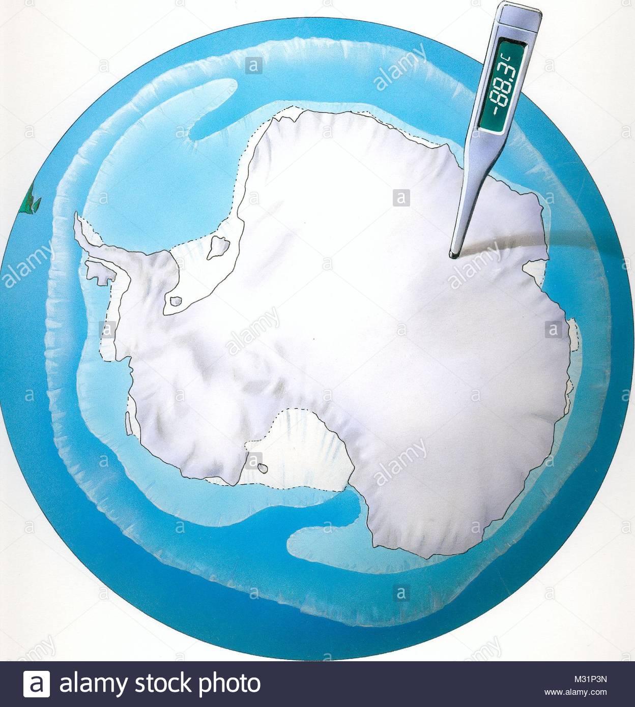 Antarctica Map Sdpol temperature measurement - Stock Image