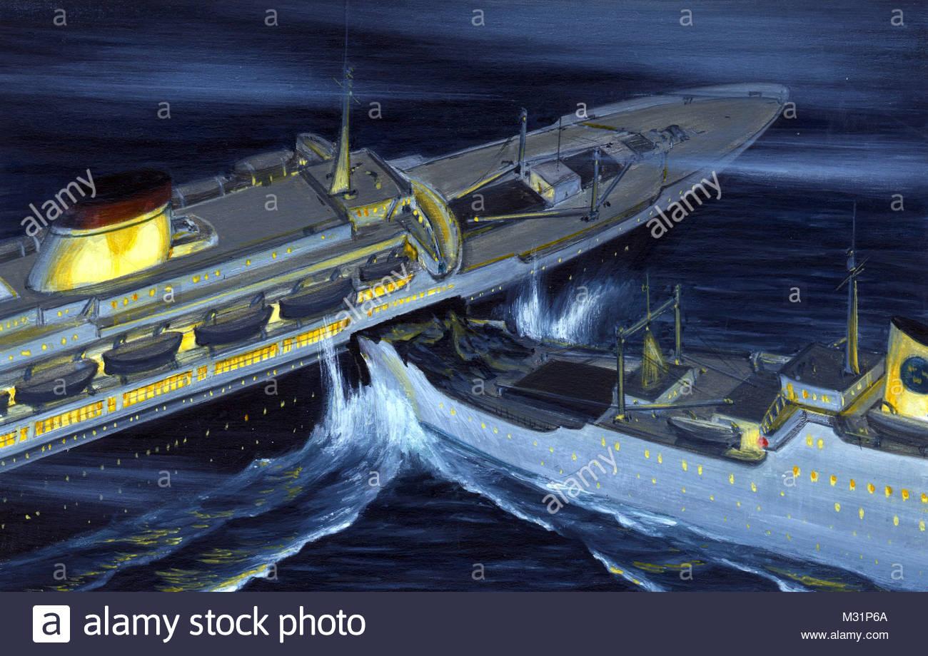 Ship collision Andrea Doria and Stockholm - Stock Image
