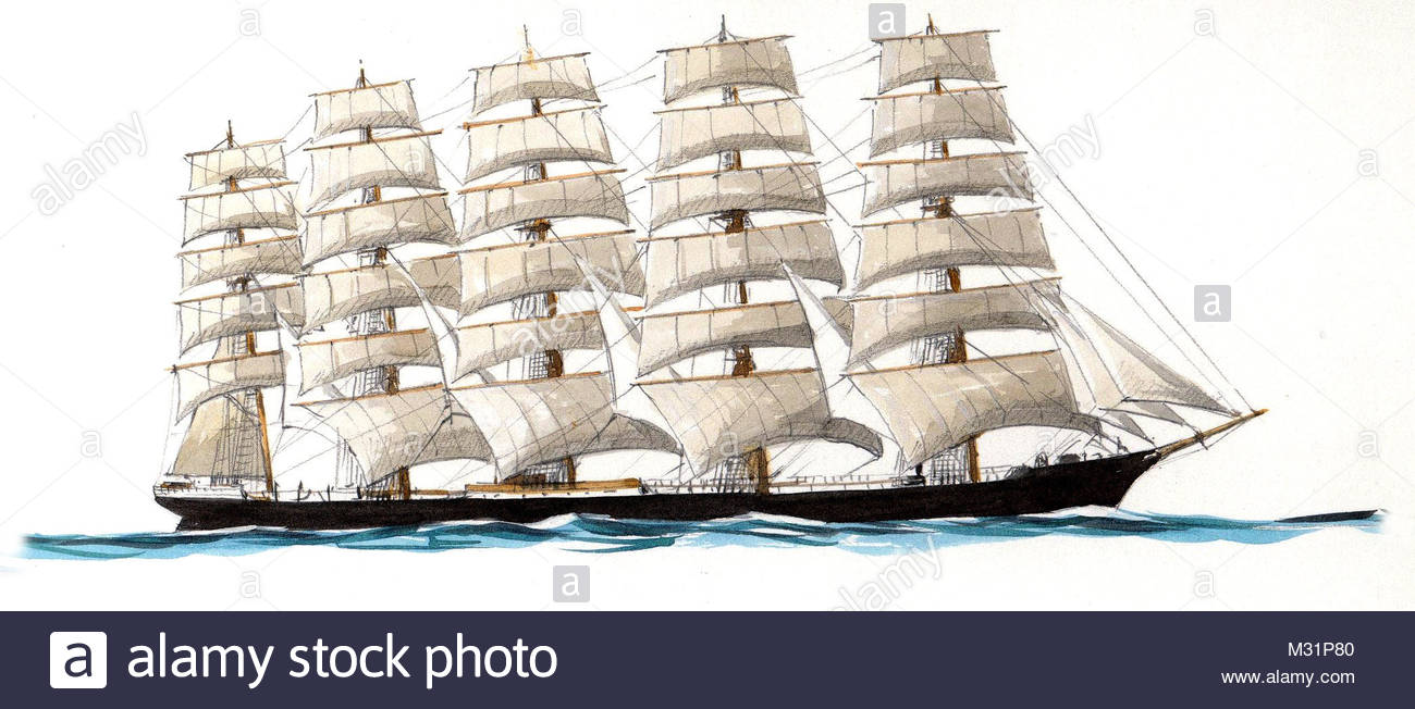 series ships preu en 5 mast-vollschiff germany - Stock Image