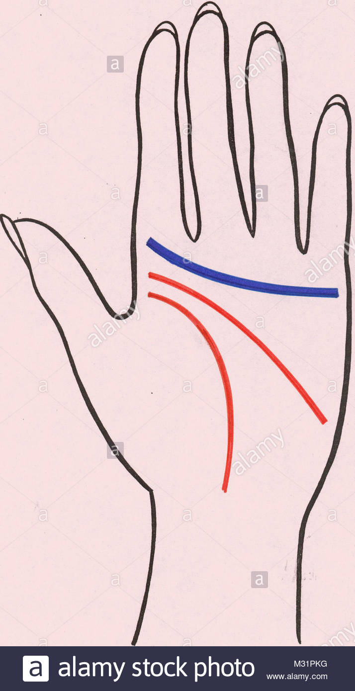 Palm reading heart line 1 - Stock Image