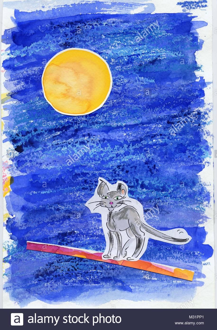 Cat at full moon - Stock Image