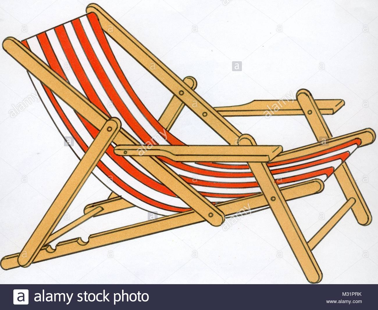 Red and white deckchair - Stock Image