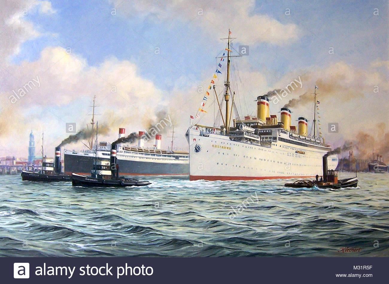 History painting Reliance Port of Hamburg - Stock Image