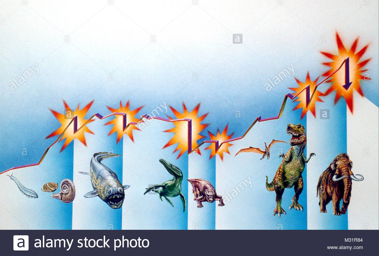 Chronology of protozoa to the mammoth - Stock Image