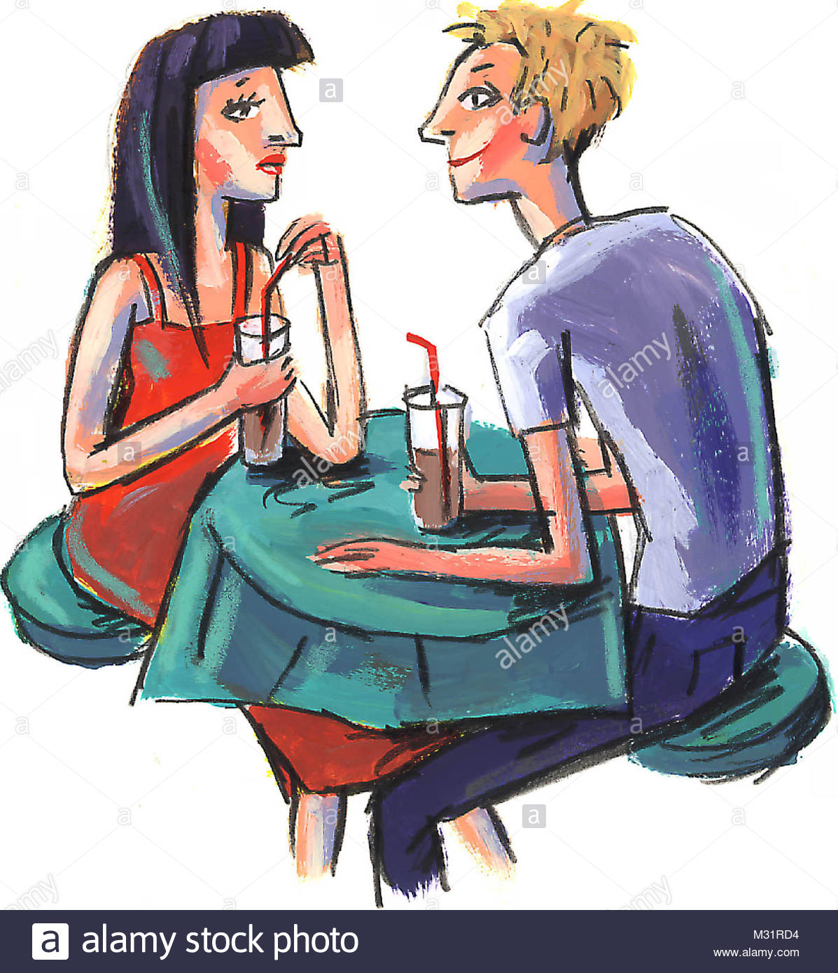 Couple at the table - Stock Image