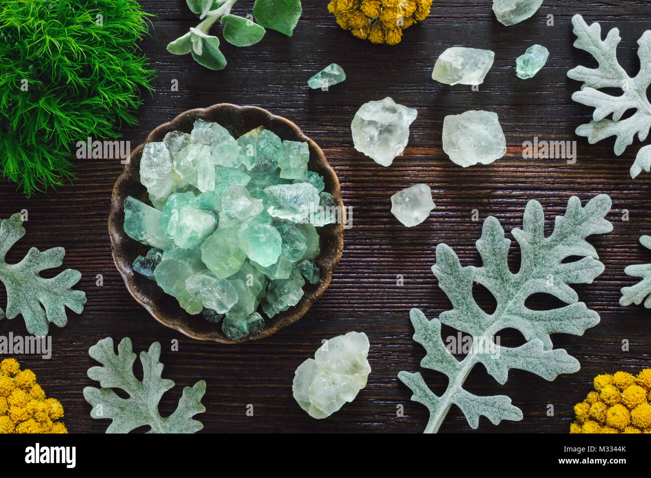 Fluorite Crystals with Dusty Miller on Dark Wood Table - Stock Image