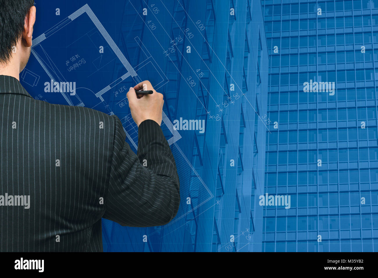 Business man or Architecture Drawing City Good build modern metro wealth and fortune business city concept. - Stock Image
