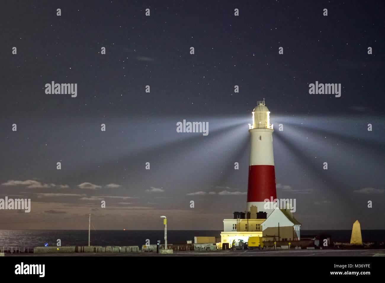 Portland Bill Lighthouse at night, Isle of Portland, UKStock Photo