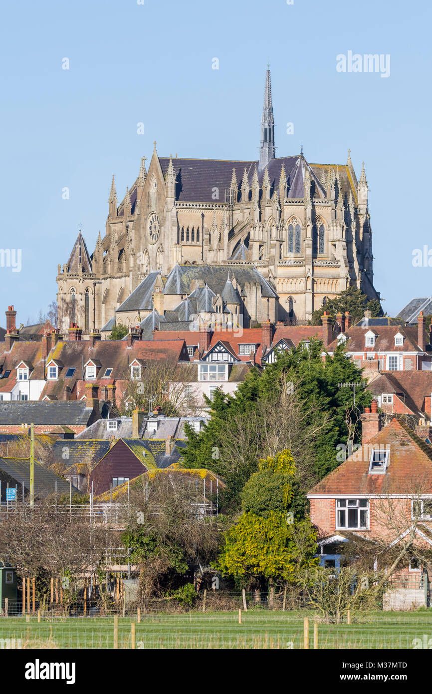 Arundel Cathedral, a Roman Catholic cathedral with the architecture style of Gothic Revival in Arundel, West Sussex, - Stock Image
