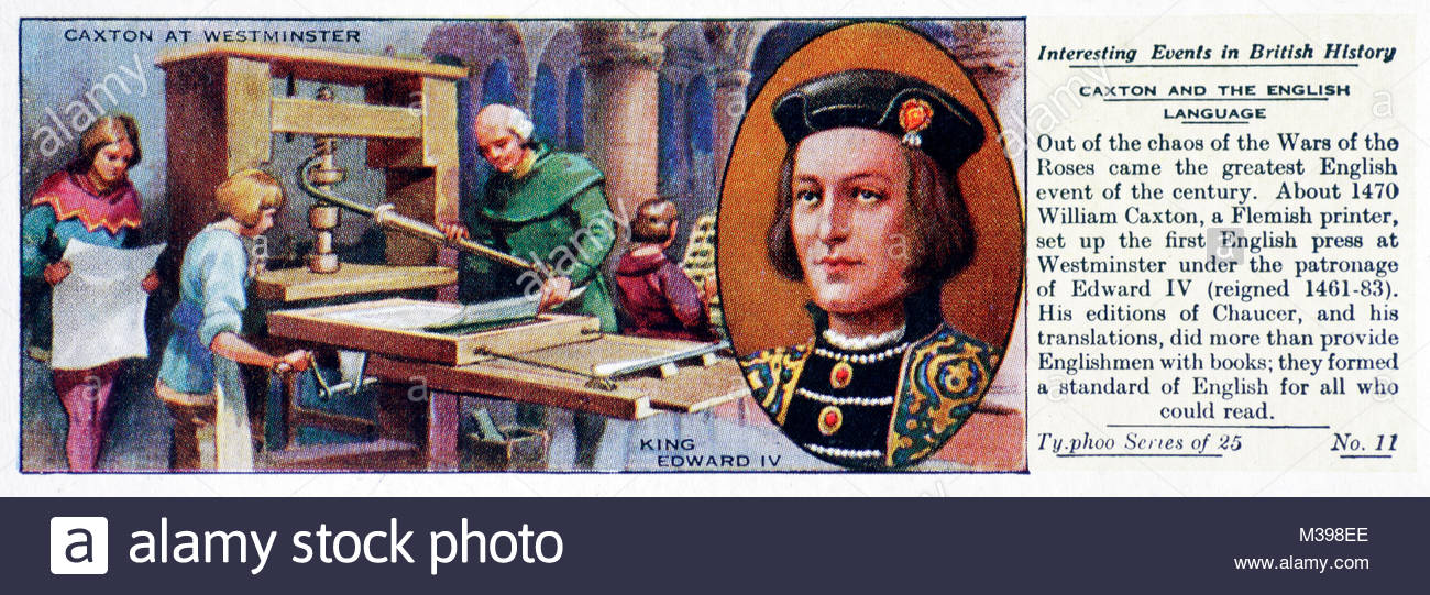 Interesting Events in British History - Caxton and the English language - Stock Image