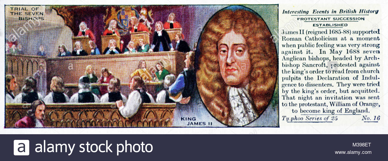 Interesting Events in British History - Protestant Succession established - Stock Image