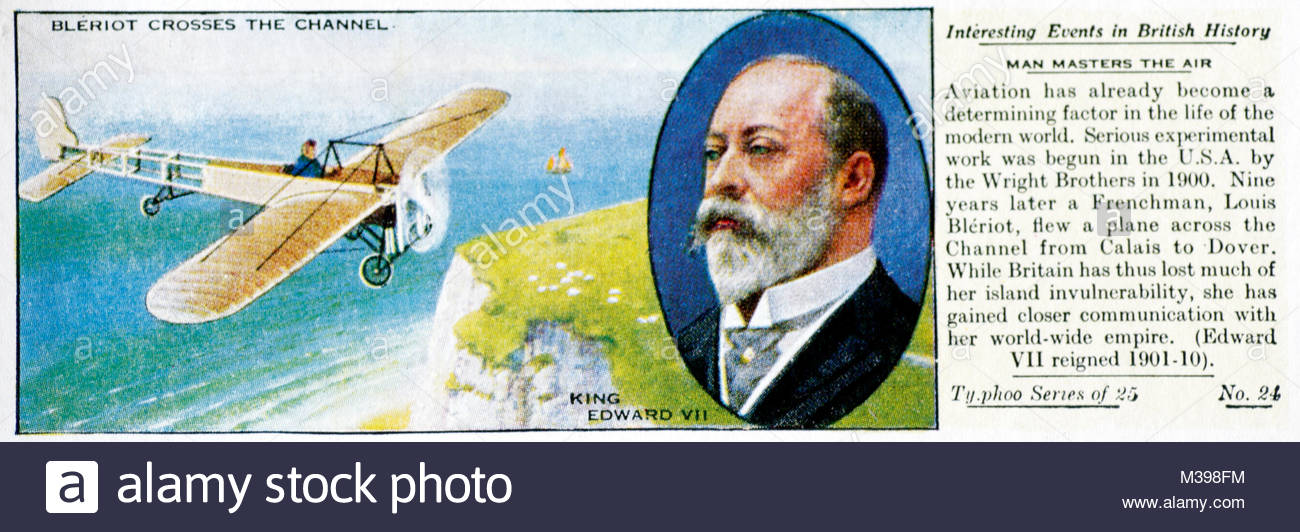 Interesting Events in British History - Bleriot Crosses the Channel - Stock Image