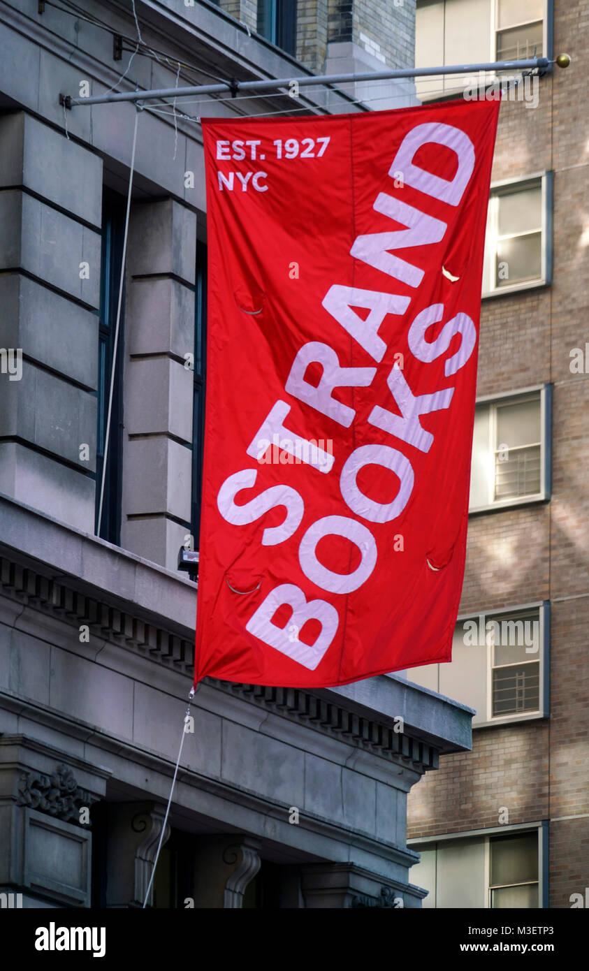 The banner of Strand Books bookstore.Manhattan.New York City.USA - Stock Image