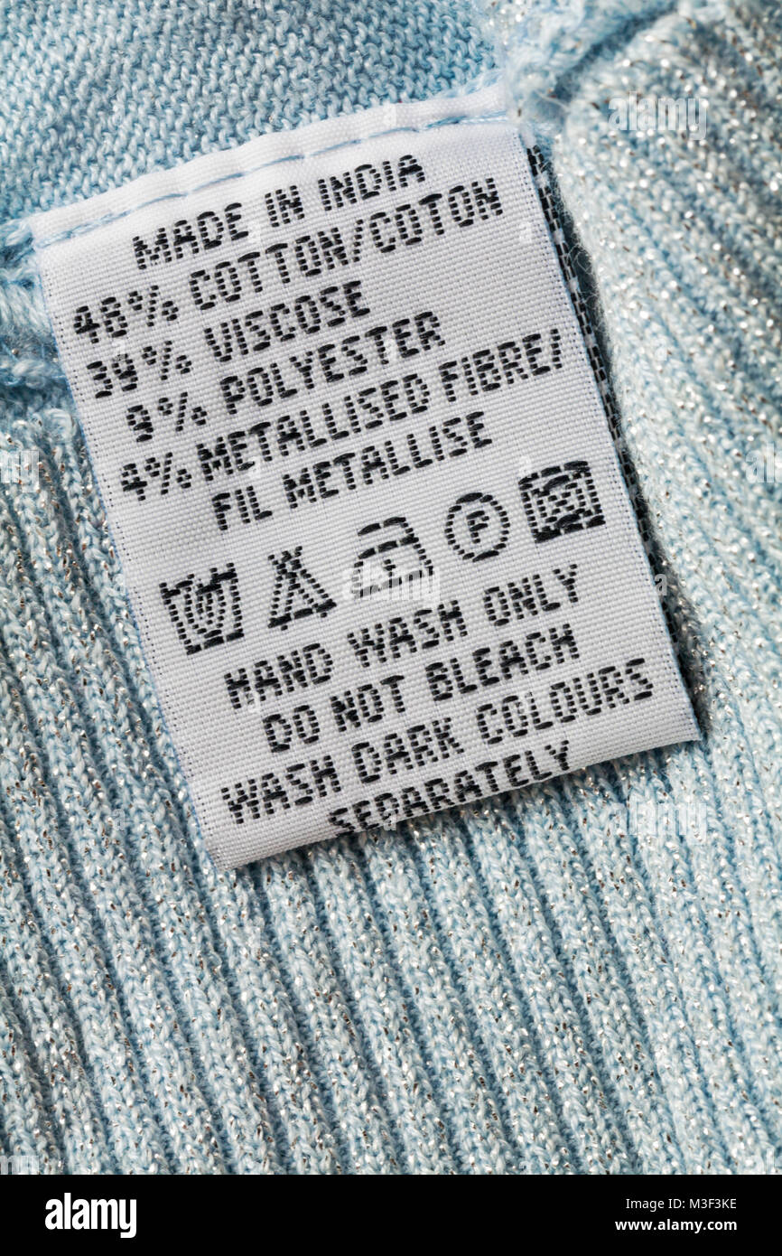 Bleach label stock photos bleach label stock images alamy wash care instructions and symbols on label in garment clothing made in india hand wash biocorpaavc Choice Image