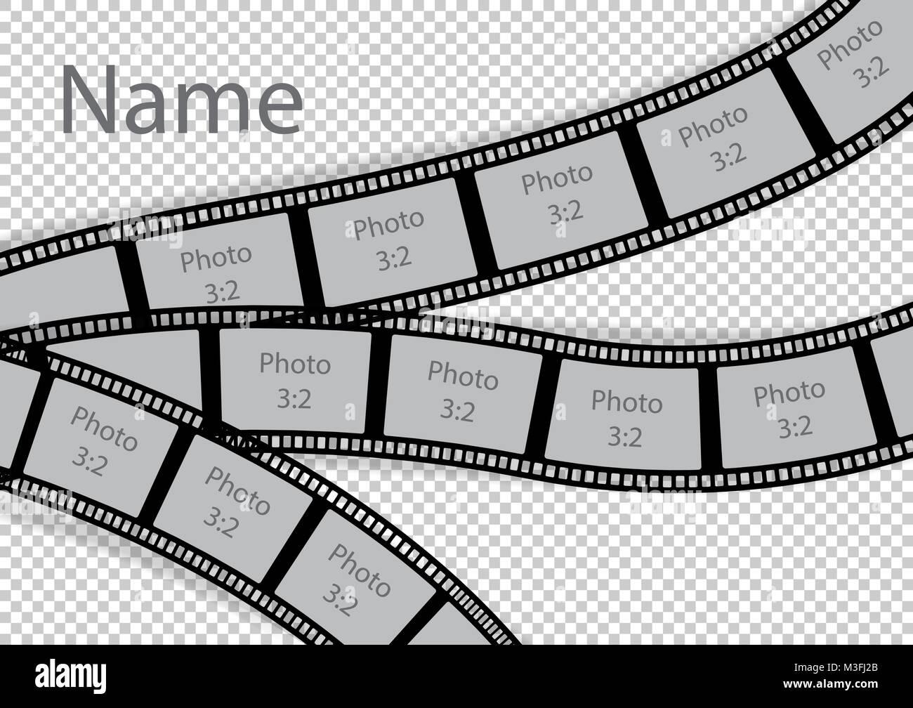 Film Strip Template | Film Strip Photo Frame Effect Template Collage Vector Illustration