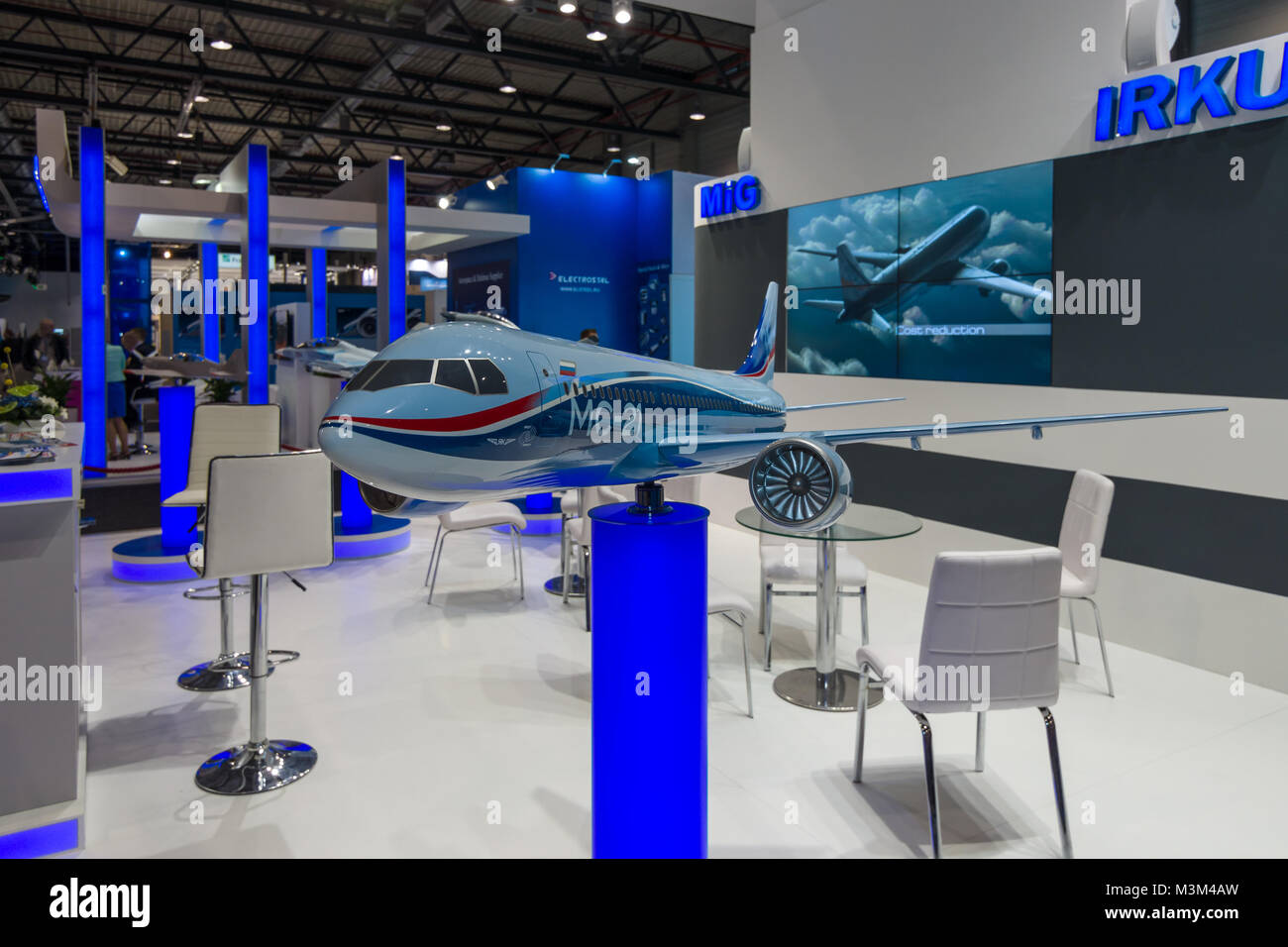 BERLIN, GERMANY - JUNE 01, 2016: The stand of Unated Aircraft Corporation (Russia). Model of Russian jet airliner - Stock Image