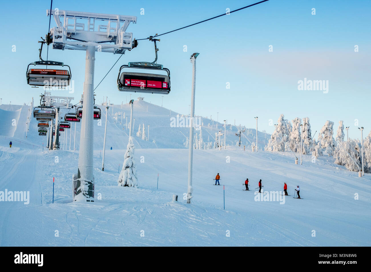 chairlifts at the ski resort of ruka in finland stock photo