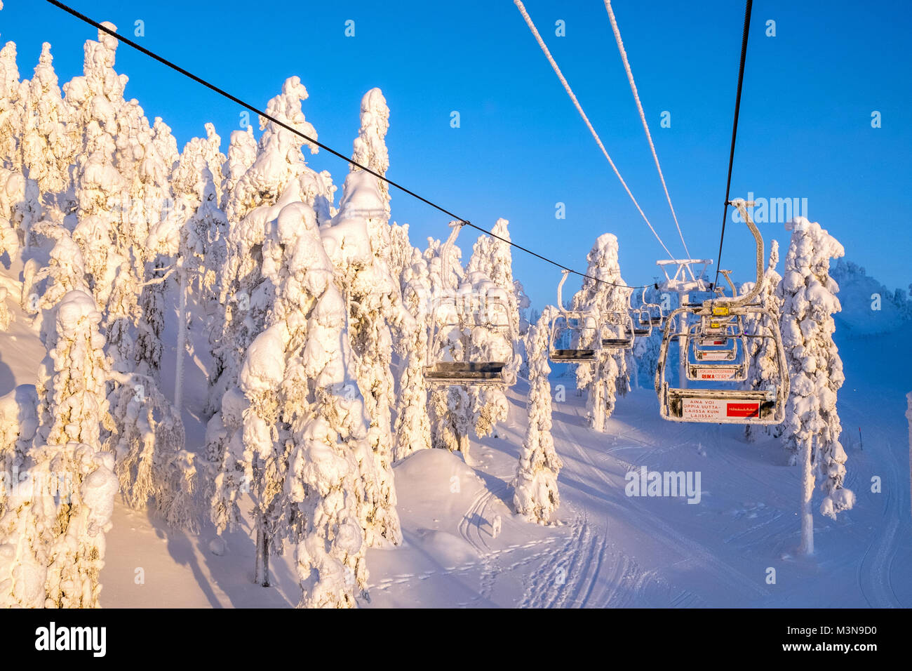 chairlift at the ski resort of ruka in finland stock photo