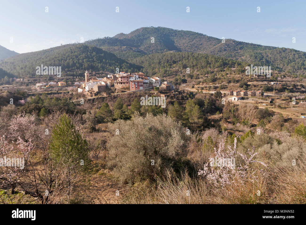 Serra d´Espadá with Torralba del Pinar, Spain - Stock Image
