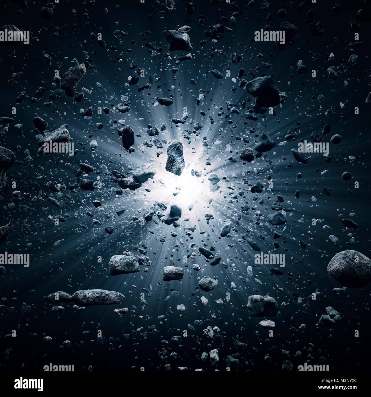 Rocks and debris flying through space after a huge big bang explosion (3D render) - Stock Image
