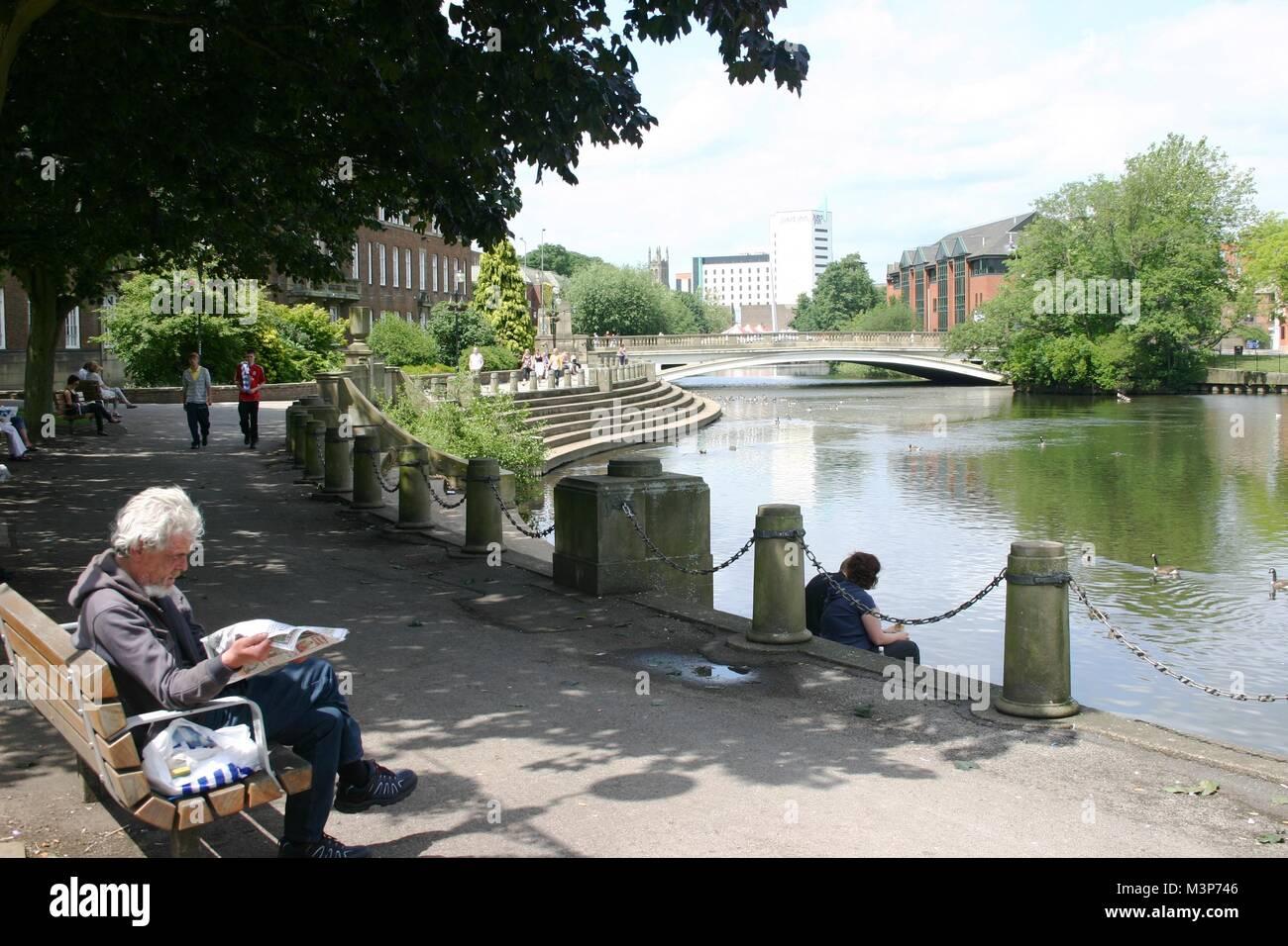 River Derwent, Derby, derbyshire - Stock Image
