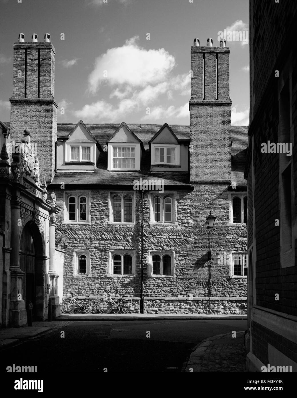 Side wall of Trinity College in Trinity Street Cambridge - Stock Image