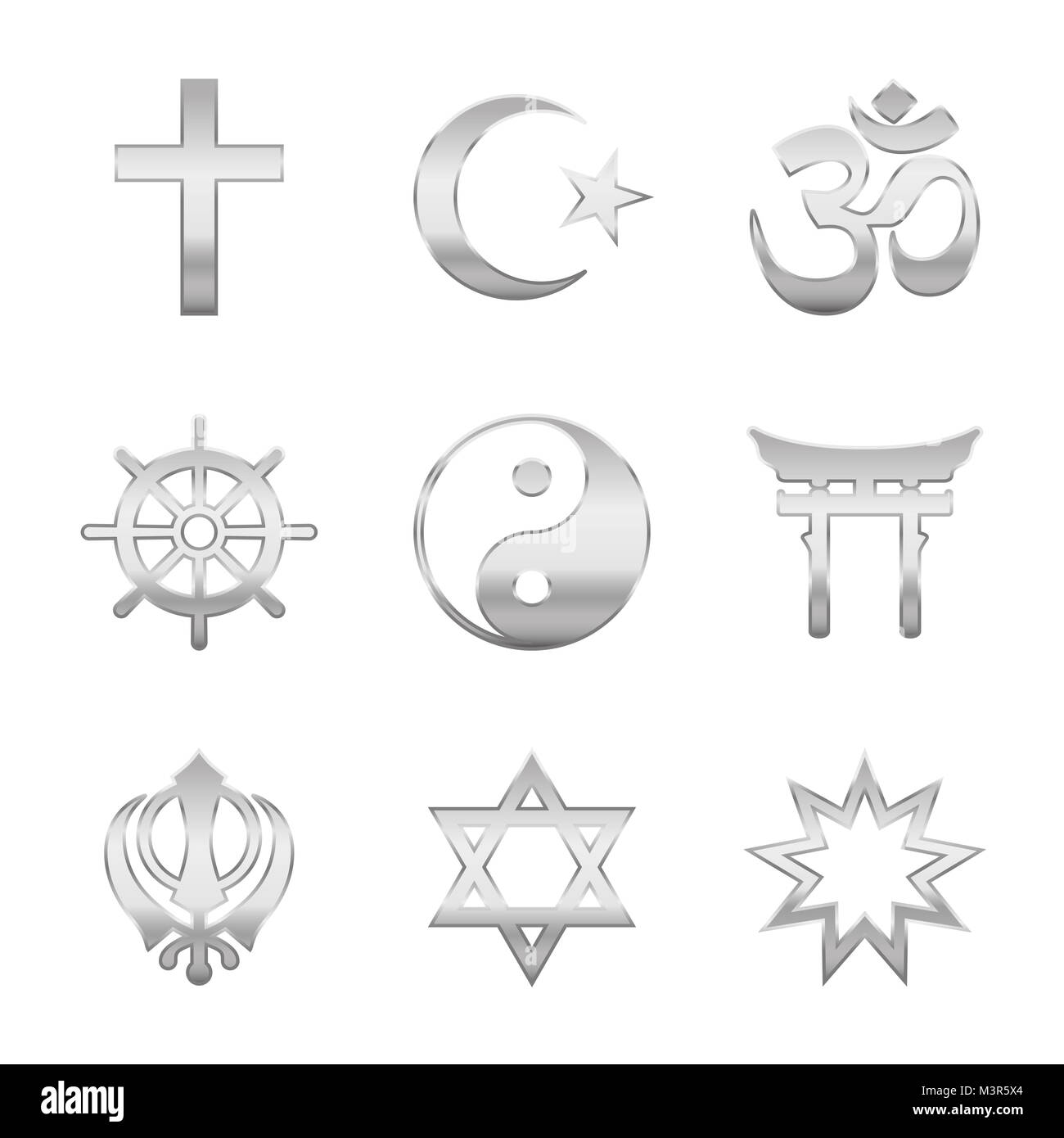 Religion symbols cut out stock images pictures alamy religion symbols silver signs major world religious groups and religions christianity islam biocorpaavc Gallery