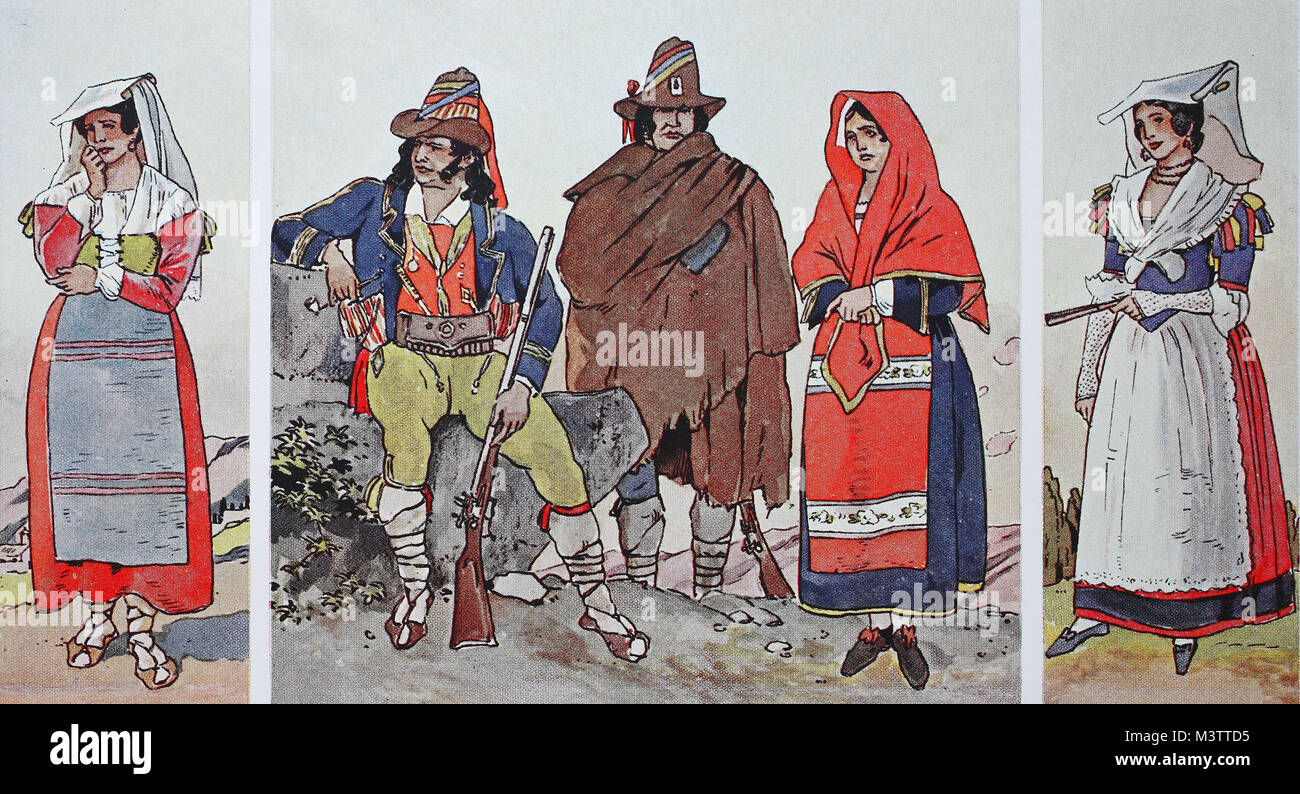 Fashion, clothes in Italy, Papal States around 1830, from left, wife from the Sabine mountains, bandit chief, bandit - Stock Image