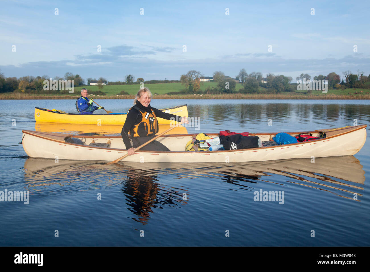 Canoeing near Culky, Upper Lough Erne, County Fermanagh, Northern Ireland. - Stock Image