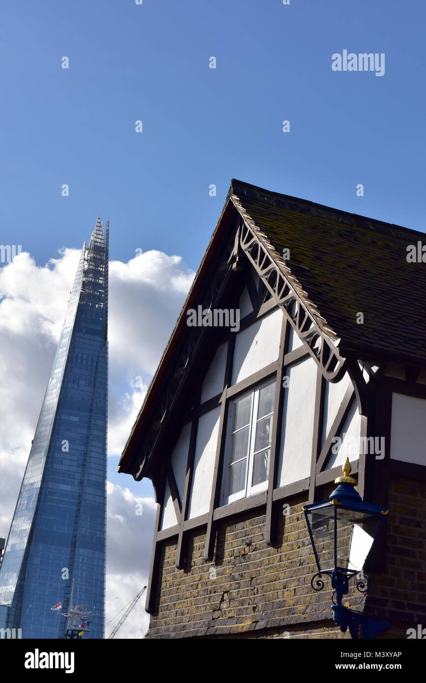 an unusual or different alternative view of the shard offices building in central london next to shakespeare's - Stock Image