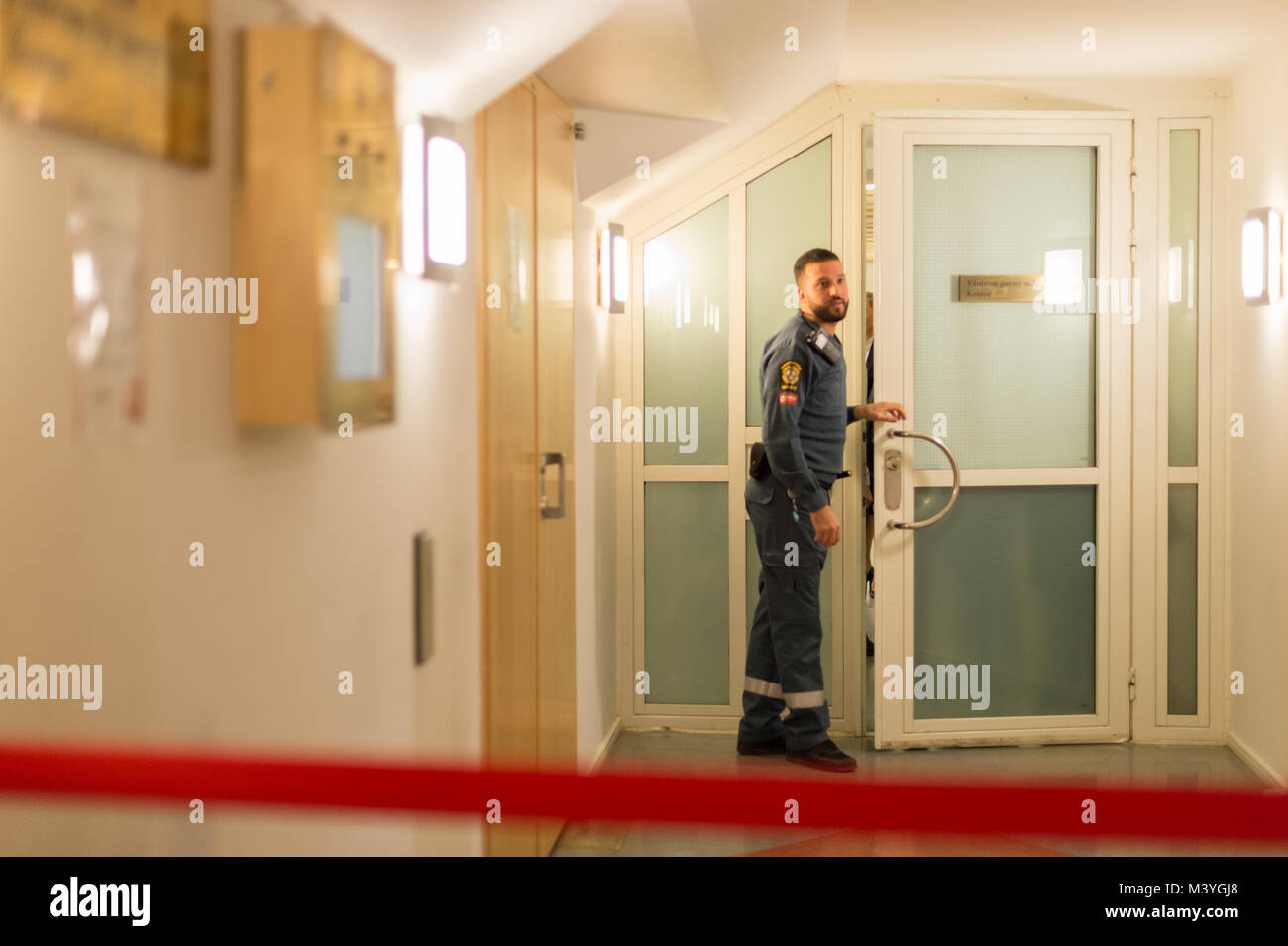 Stockholm, Sweden, 13th February, 2018. Terrorism charges, Security hall 1, Stockholm District Court. Terror suspect - Stock Image
