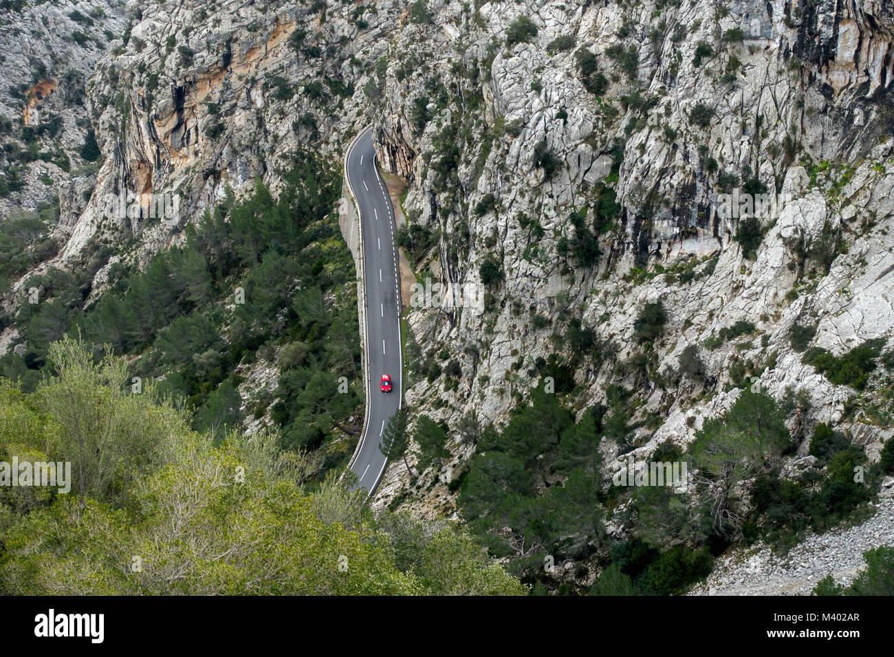 Road to the monastery of Lluc.Tramuntana.Mallorca Island.Spain - Stock Image