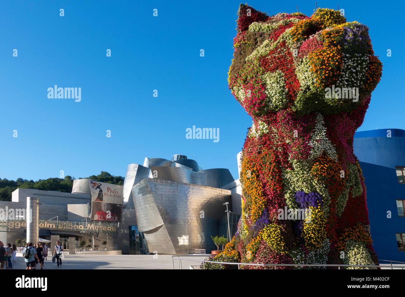 Puppy flower sculpture.Artist:jeff Koons.Guggenheim Museum.Bilbao.Spain - Stock Image