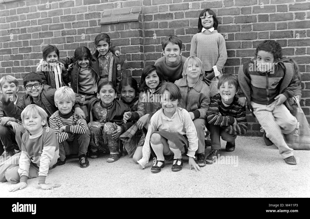 Children playing at Tiverton Junior and Infant School, Tiverton Road, Selly Oak, Birmingham, pictured around 1983, Stock Photo
