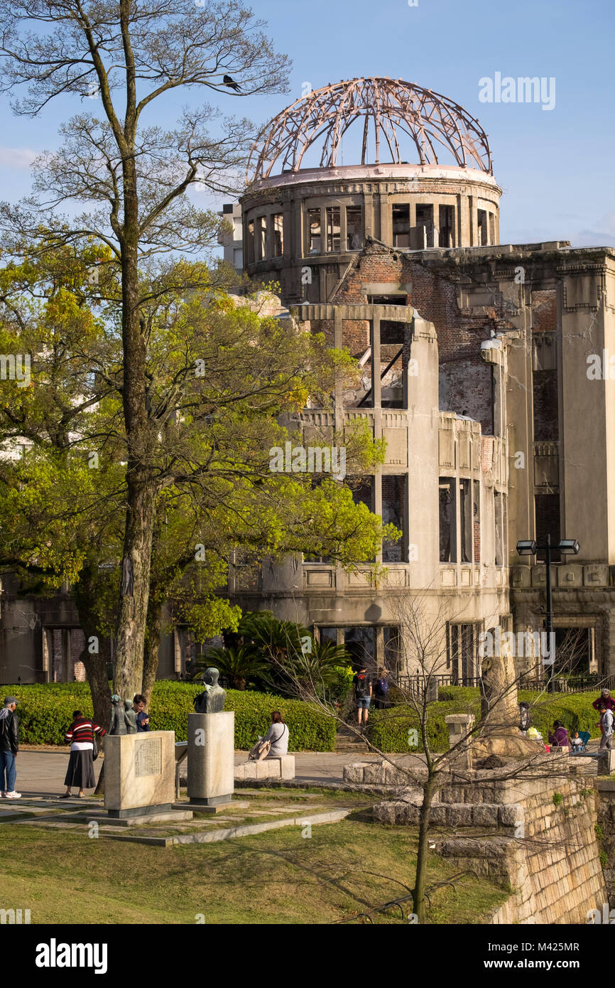 The Atomic Bomb Dome (Genbaku Domu), the former Hiroshima Industrial Promotion Hall, in the Peace Memorial Park, - Stock Image