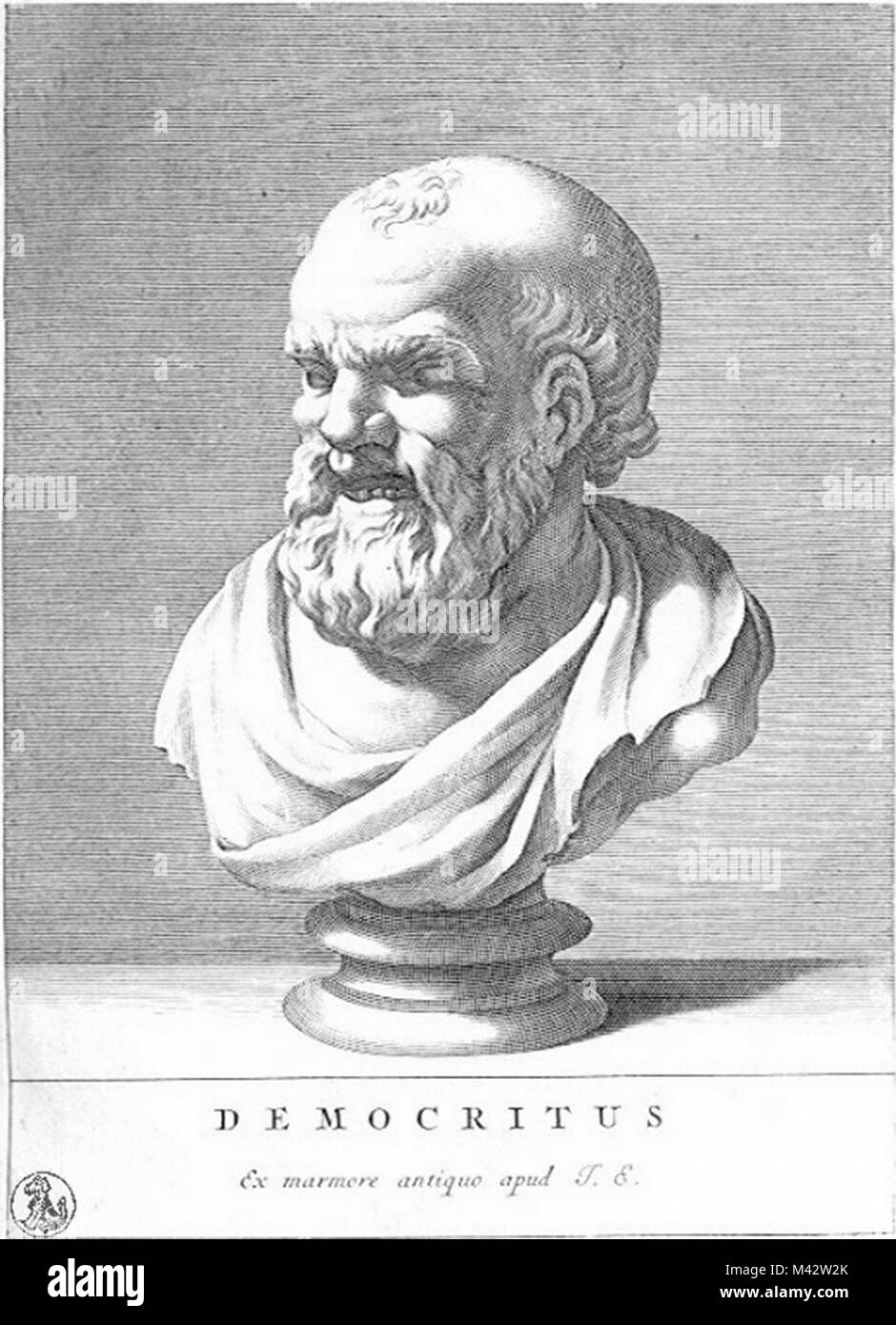 Democritus (c. 460 – c. 370 BC) Ancient Greek pre-Socratic philosopher, formulated an atomic theory of the universe - Stock Image