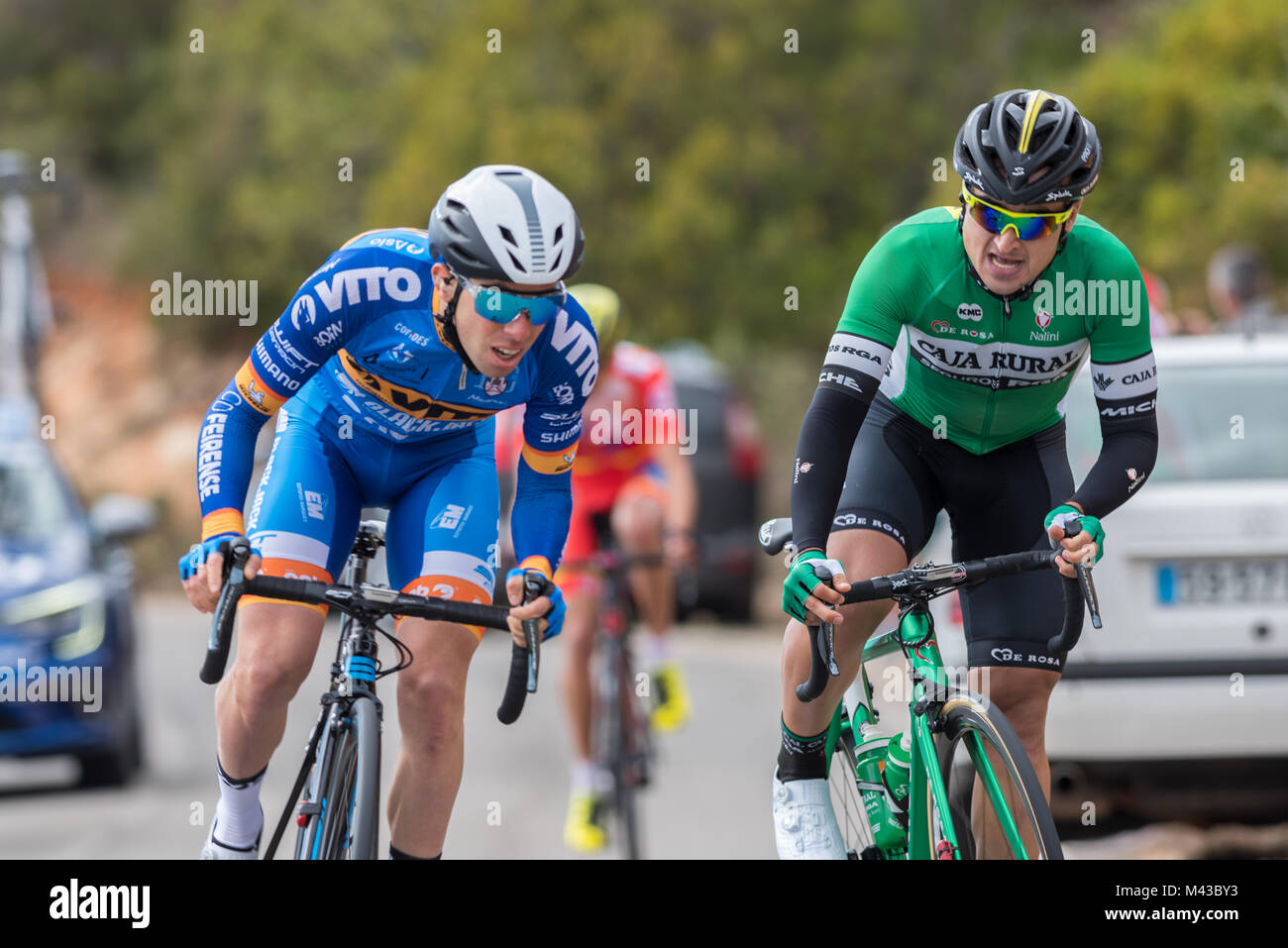 Algarve, Portugal, 14th Feb, 2017, Luis Afonso leads Josu Zabala for 2nd place on the Cat 4 climb of Aldeia dos - Stock Image