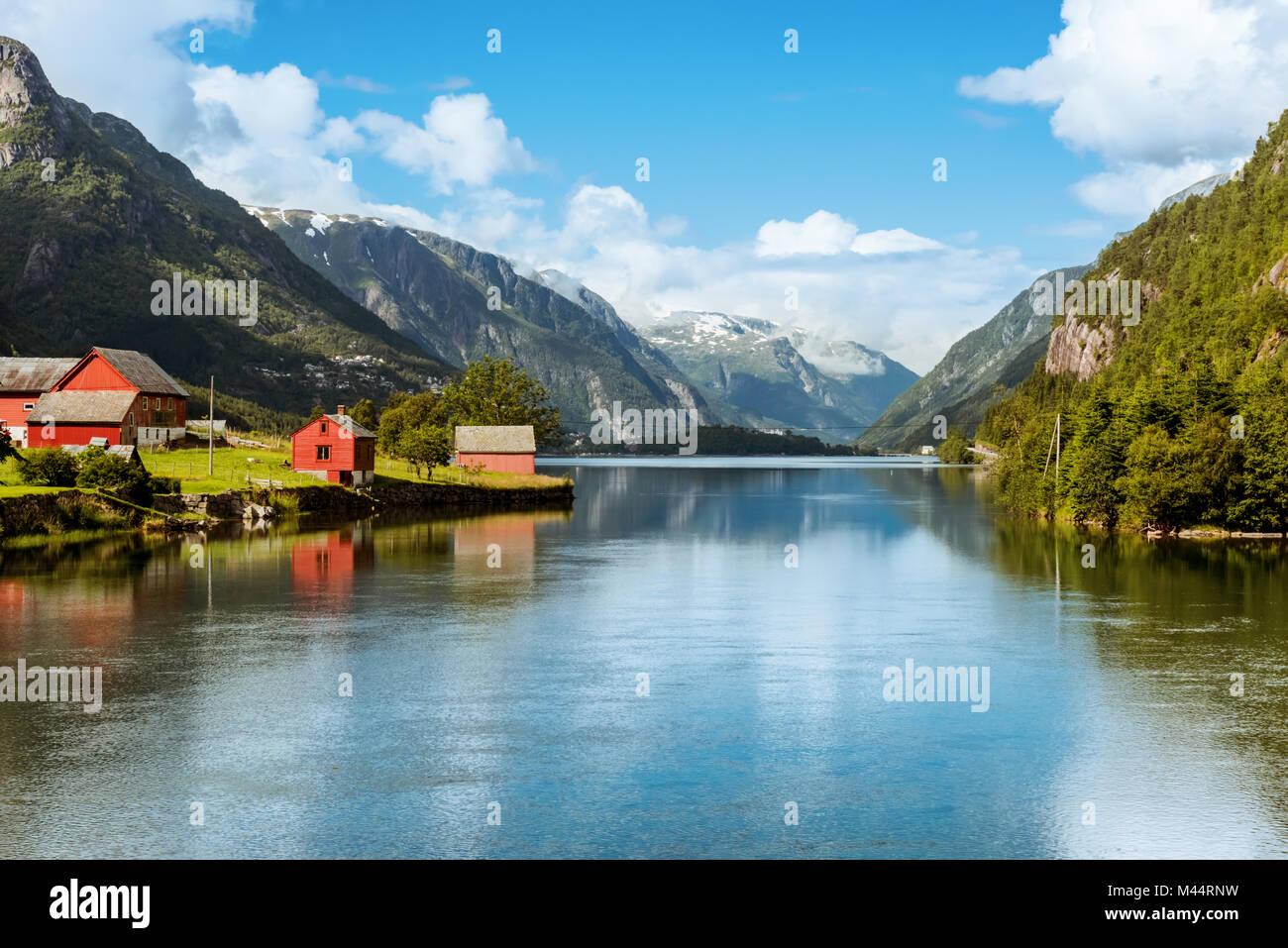Odda is Norway town located near Trolltunga rock - Stock Image